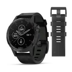 Мужские мультиспортивные часы Garmin Fenix 5 Plus Sapphire - черные с черным кожаным ремешком 010-01988-07