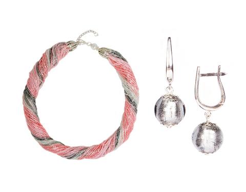 Комплект украшений серо-розовый (серьги-бусины, ожерелье из бисера 48 нитей)