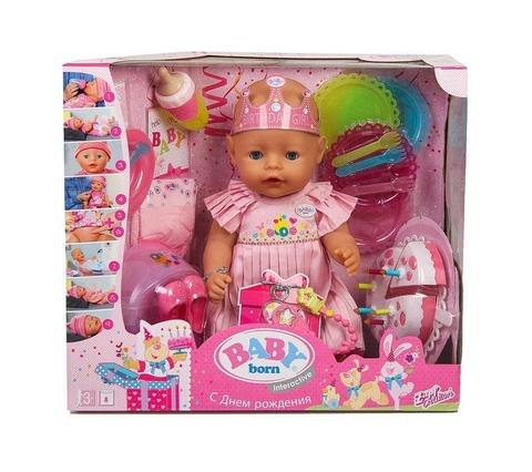 Кукла Baby Born Zapf Creation Нарядная с тортом, интерактивная