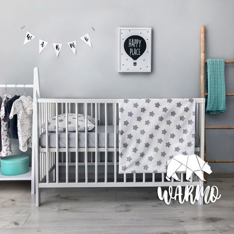 Постіль дитяча з сірими зірочками фото