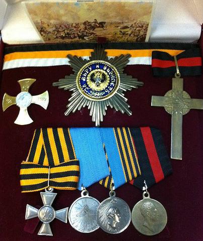 Орденский набор 1812 года в футляре (копии)
