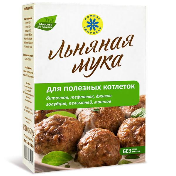 Мука льняная, Компас Здоровья, для полезных котлеток,тефтелей,пельменей,голубцов, 300 г