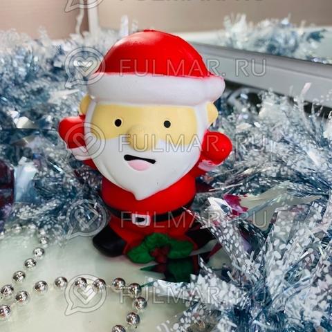 Сквиши Дед Мороз Новогодний красный игрушка антистресс