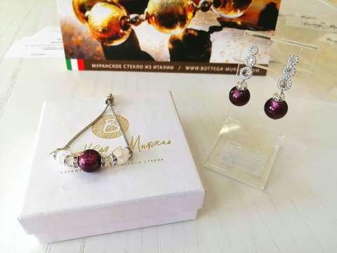 Комплект из браслета и серег со стразами Sandra цвет Amethyst 042A