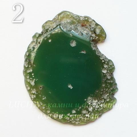 Подвеска Срез Агата (тониров), цвет - темный зеленый, 34-58 мм (№2 (42х32 мм))