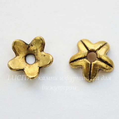 Шапочка для бусины 9х3 мм (цвет - античное золото), 10 штук