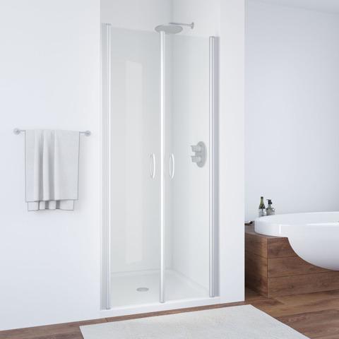 Душевая дверь в нишу Vegas Glass E2P профиль хром матовый, стекло прозрачное