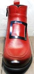 Красные ботинки женские лоферы демисезонные Evromoda 1481547 S.A.-Red