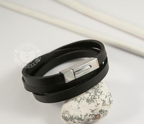 BL426-1 Мужской браслет лента из натуральной кожи со стальной застежкой
