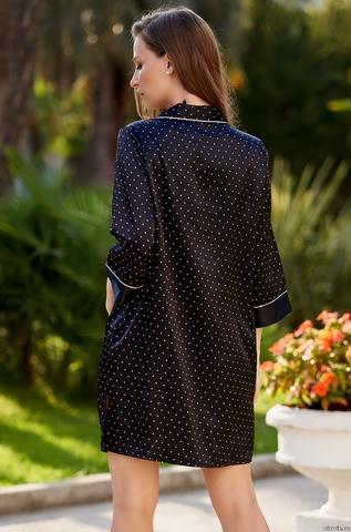 Халат женский на пуговицах черный MIA-AMORE DOROTHY ДОРОТИ 8707