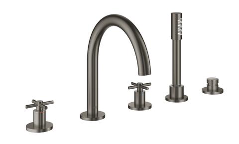 Atrio New Комлект для ванны на 5 отверстий (смеситель двухвентильный, круглый излив, крестообразные ручки, ручной душ, переключатель), Графит
