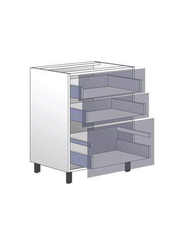 Напольный шкаф c 3 ящиками, 720Х600 мм / PushToOpen