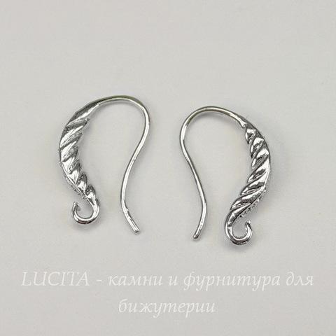 Швензы - крючки с узором, 18 мм (цвет - никель), пара