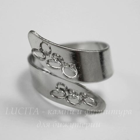 Основа для кольца с петельками Спираль (цвет - платина) (6 петелек)