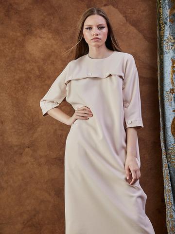 Платье из вискозы с пуговицами Пудра