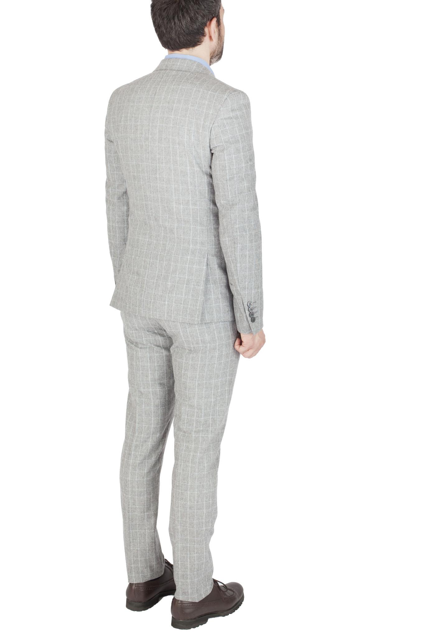 Светло-серый костюм в клетку «Принц Уэльский» из 100%-ной шерсти