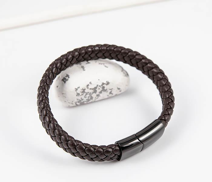 BM532-2 Мужской коричневый браслет из плетеной кожи фото 05