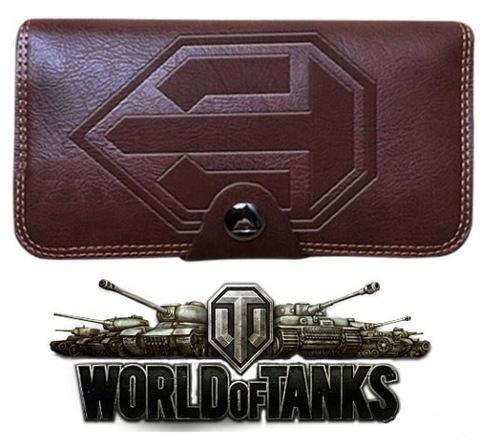 Портмоне мужское коричневое World of Tanks из искусственной кожи красное внутри CW006
