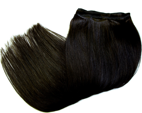 Тресс из натуральных волос длина 52 см,цвет #1B- 1Б-темный коричневый переходящий в черный