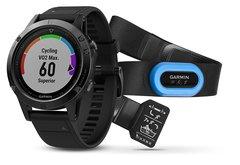 Мужские спортивные часы Garmin Fenix 5 Sapphire - черные с черным ремешком и и HRM-Tri 010-01688-32