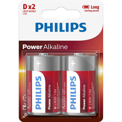 Батарейки Philips Power Alkaline LR20, D (2/24) BL