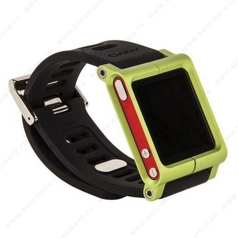 Сменный ремешок LunaTik для Apple iPod nano 6 в виде браслета черный ремешок зеленый корпус