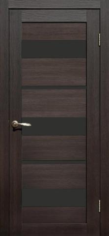 Дверь APOLLO DOORS F10, стекло чёрное Lacobel, цвет каштан тёмный, остекленная