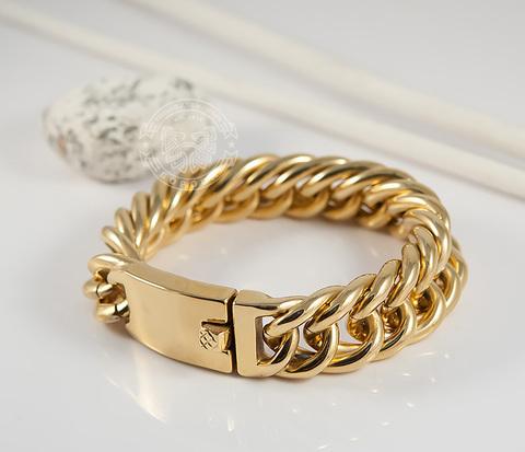 BM385-2 Массивный мужской браслет золотого цвета из ювелирной стали (22 см)