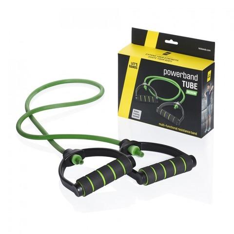 Эспандер с ручками POWERBANDS TUBE (среднее сопротивление, зеленый)