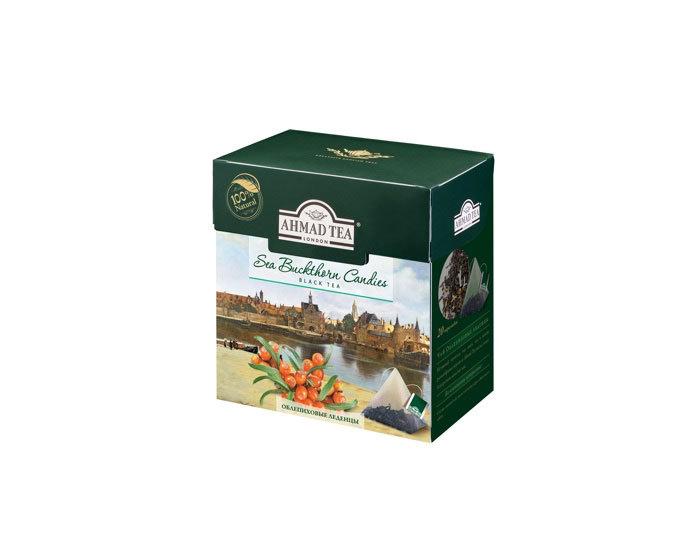 Чай черный в пирамидках Ahmad Tea Облепиховые леденцы, 20 пак/уп (Ахмад)