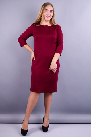 Арина француз. Платье больших размеров. Бордо.