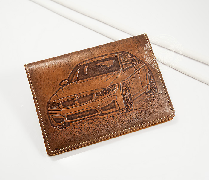 BY04-10-01 Прикольная кожаная обложка для документов водителя BMW, тиснение