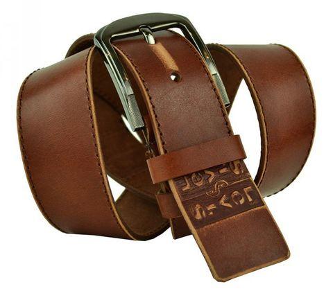 Мужской широкий джинсовый рыже-коричневый ремень потёртый 45 мм из натуральной мягкой кожи