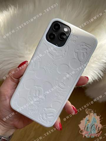 Чехол iPhone Mickey Mouse Leather /white/