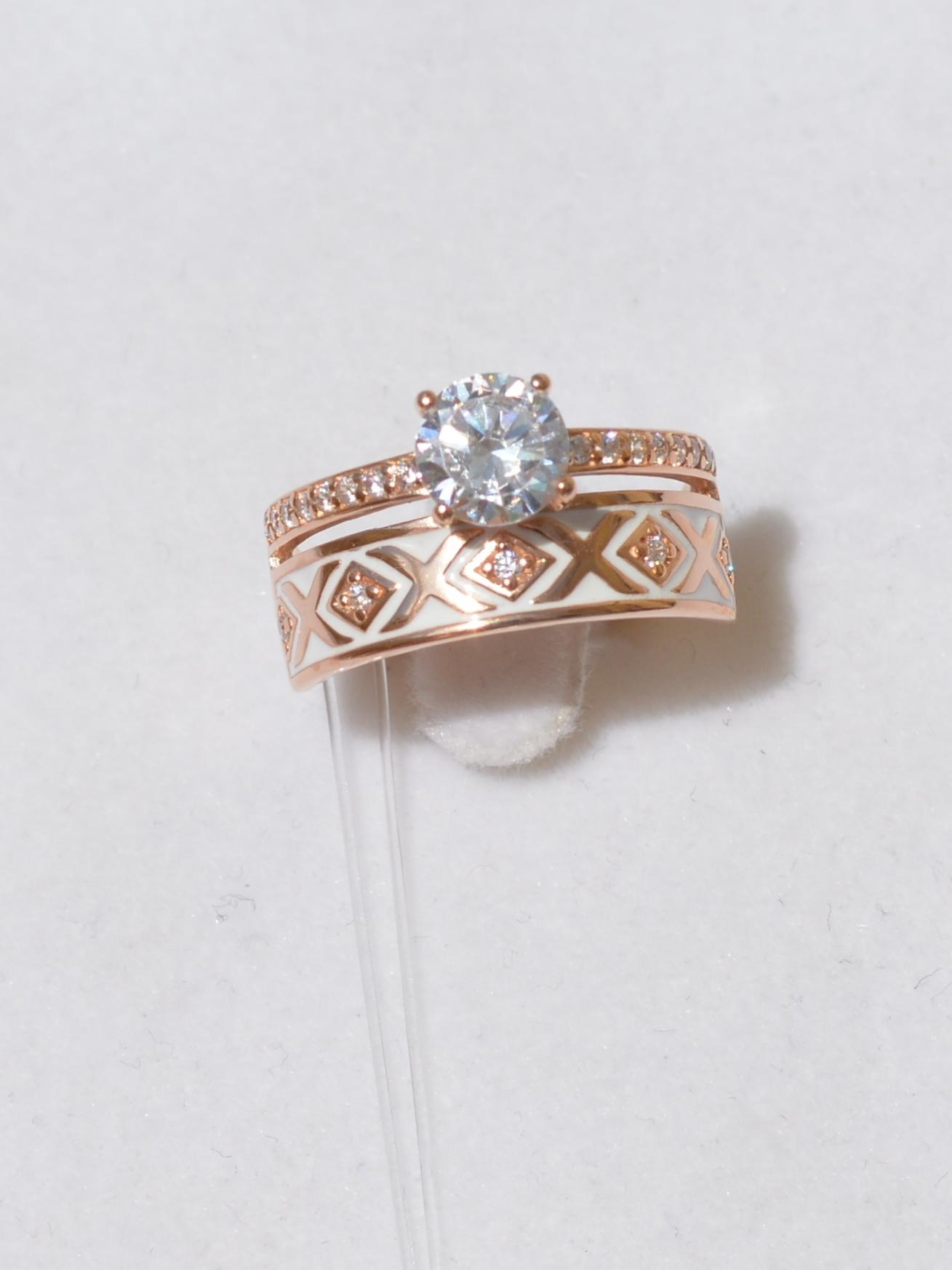 Кольцо из золочёного серебра с эмалью с фианитом