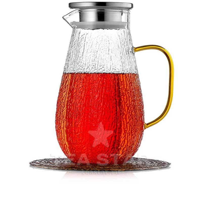 Кувшины, графины (для горячих и холодных напитков) Кувшин 1,5 литра из жаростойкого рельефного стекла для горячих и холодных напитков Kuvshin-dlia-soka-i-kokteiley-4-003-1500-teastar.jpg
