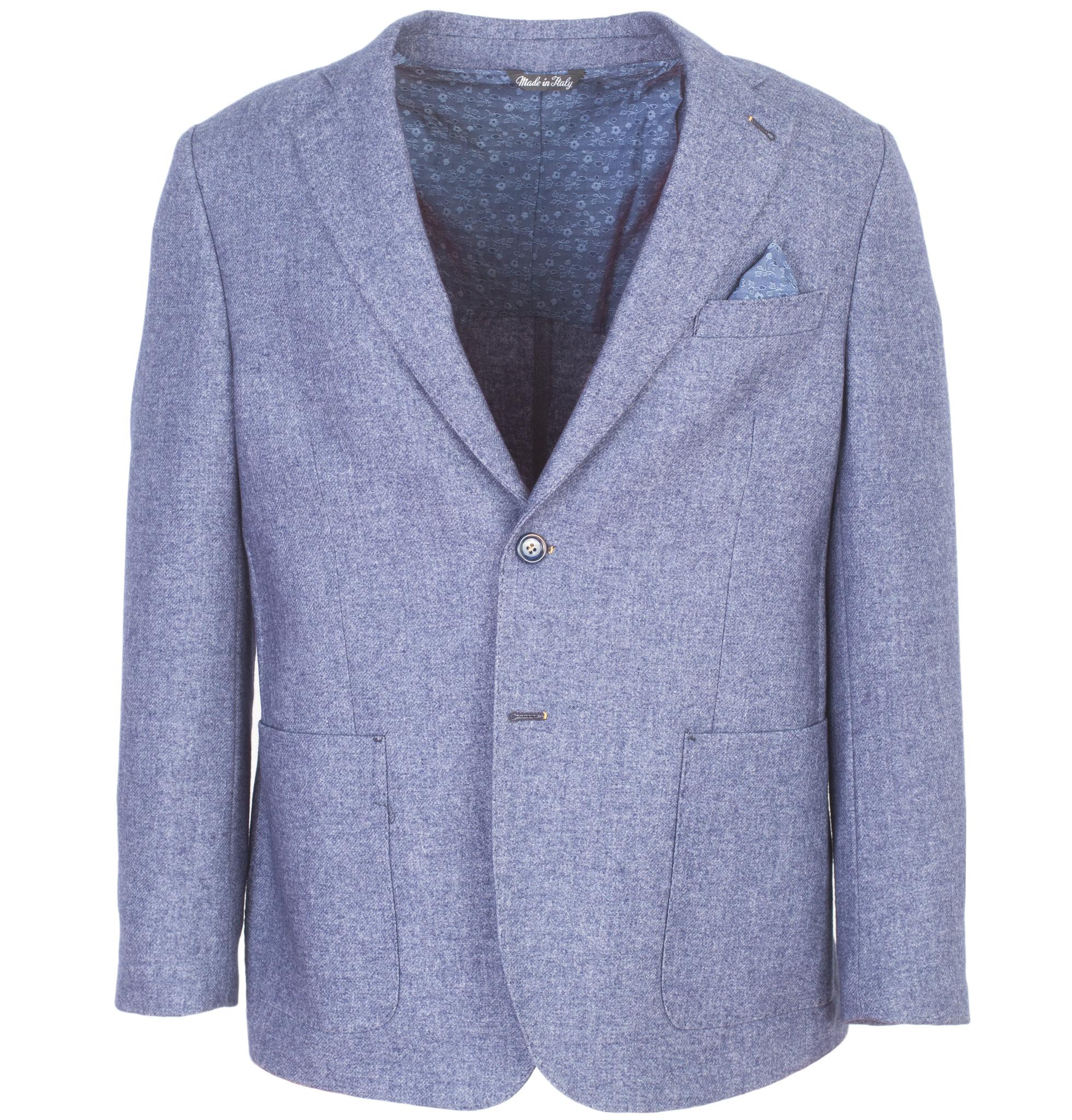 Светло-синий шерстяной пиджак свободного кроя