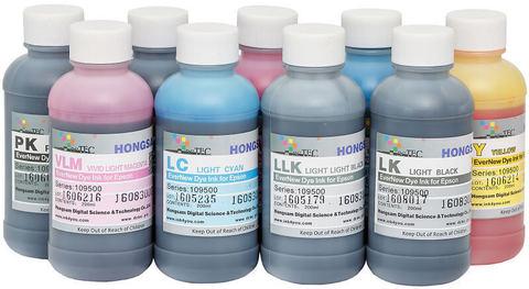 Комплект водорастворимых чернил для 9-ти цветных широкоформатных плоттеров Epson. 9x200 мл