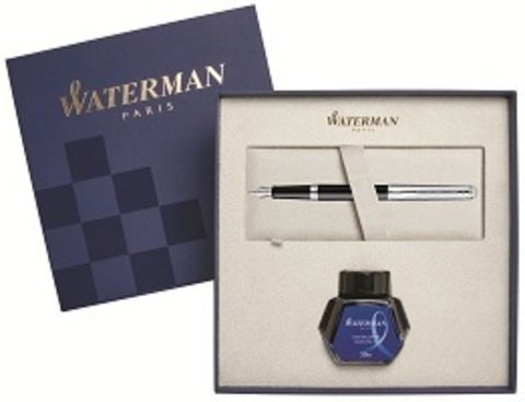Подарочный набор: перьевая ручка Hemisphere Deluxe, Black CT и чернила, blue