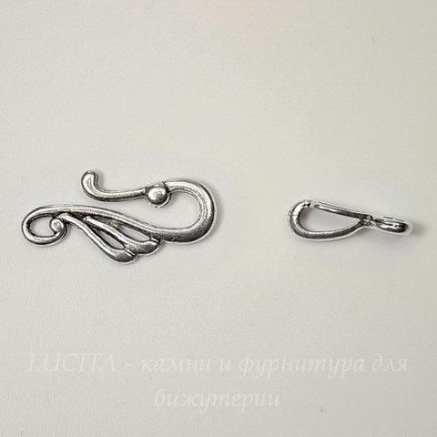 Замок - крючок из 2х частей 38х12 мм (цвет - античное серебро)