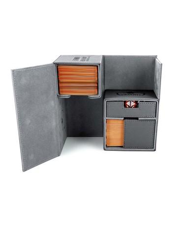 Ultimate Guard - Двойная кожаная серая коробочка с отделением для кубиков