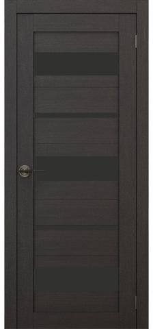 Дверь APOLLO DOORS F10, стекло чёрное Lacobel, цвет дуб серый, остекленная