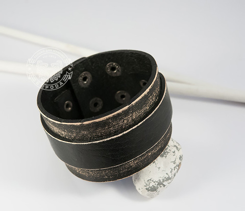 BL429 Винтажный мужской браслет из натуральной кожи на кнопках