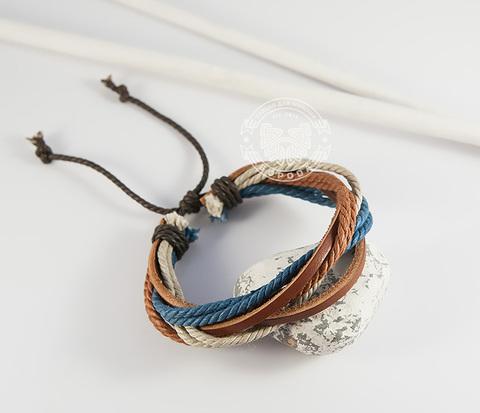 BL430 Разноцветный мужской браслет из кожи и ниток на затяжках