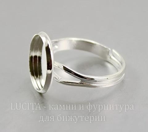 Основа для кольца с сеттингом для кабошона 11,5 мм (цвет - серебро)