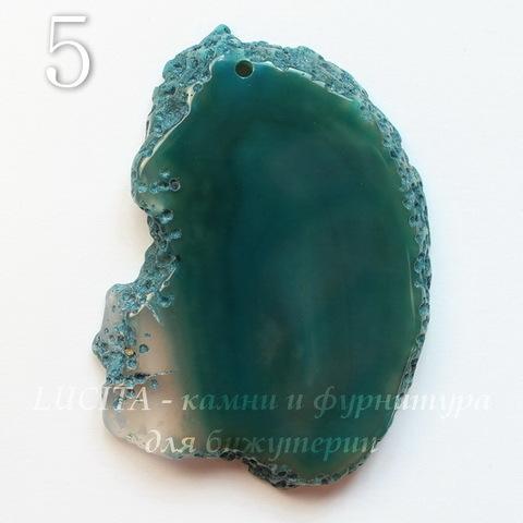 Подвеска Срез Агата (тониров), цвет - темный зеленый, 34-58 мм (№5 (57х37 мм))