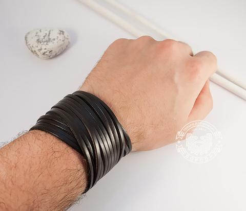 BL431-2 Широкий мужской браслет в два оборота из коричневой натуральной кожи