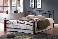 Кровать АТ-8077 200x90 (Single металл) Черный/Красный дуб