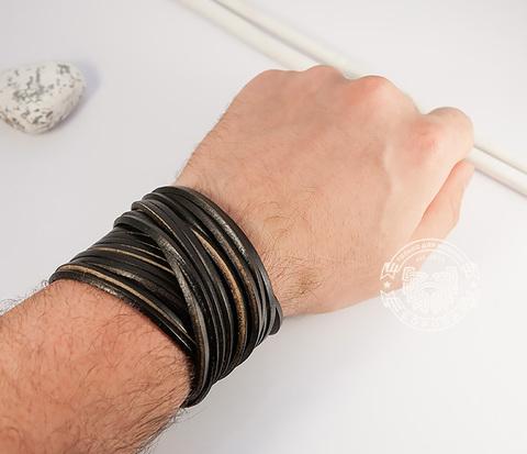 BL431-1 Широкий мужской браслет в два оборота из черной натуральной кожи