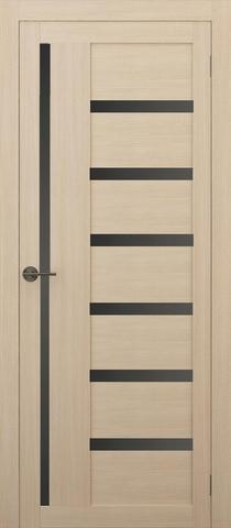 Дверь APOLLO DOORS F17, стекло чёрное Lacobel, цвет лиственница светлая, остекленная